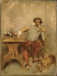 Au cabaret, un reître et Sloughy, le lévrier du peintre (Meissonier Jean-Louis-Ernest) - Muzeo.com