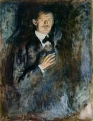 Autoportrait avec une cigarette (Munch Edvard) - Muzeo.com