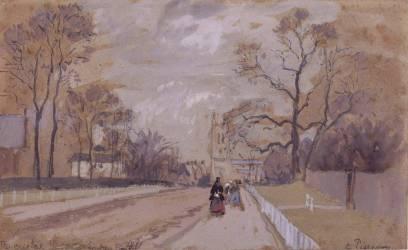 Avenue aboutissant à une église au fond (Camille Pissarro) - Muzeo.com