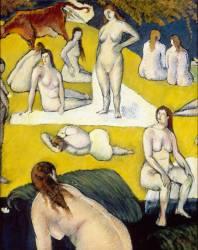 Baigneuses à la vache rouge (Emile Bernard) - Muzeo.com