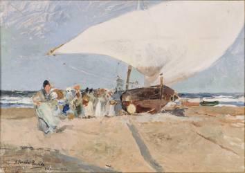Barques et groupes de pêcheurs à Valence (Joaquin Sorolla y Bastida) - Muzeo.com