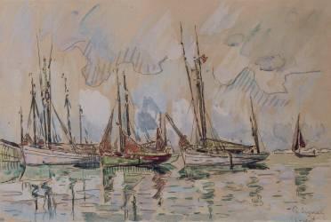 Bateaux de pêche dans le port de Lorient (Paul Signac) - Muzeo.com