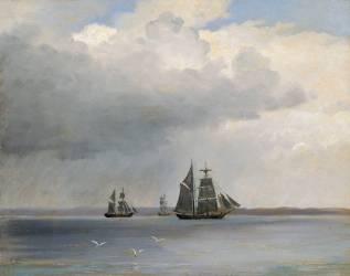 Bateaux sur la mer (Larsen Carl Frederick Emmanuel) - Muzeo.com