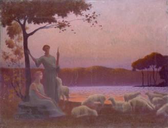 Bergères au crépuscule (Alphonse Osbert) - Muzeo.com