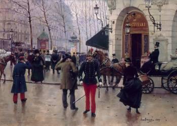 Boulevard des Capucines et Théâtre du Vaudeville (Jean Béraud) - Muzeo.com