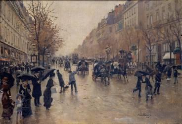 Boulevard Poissonnière sous la pluie (Jean Béraud) - Muzeo.com
