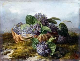 Bouquet de violettes dans un panier (Eléonore Escalier) - Muzeo.com