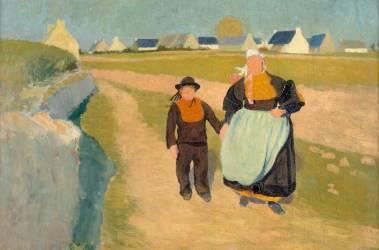 Breton et Bretonne dans un paysage (Delaunay Robert) - Muzeo.com
