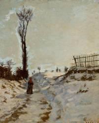 Chemin creux, effet de neige (Guillaumin Armand) - Muzeo.com