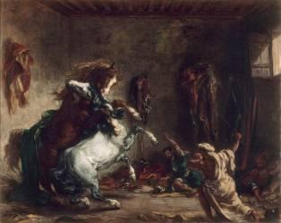 Chevaux arabes se battant dans une écurie (Eugène Delacroix) - Muzeo.com