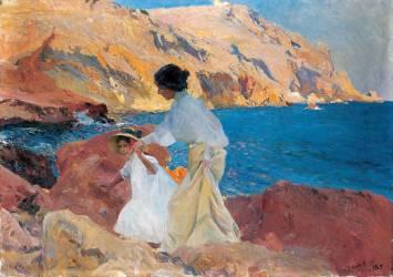 Clotilde et Elena sur les rochers (Joaquin Sorolla y Bastida) - Muzeo.com