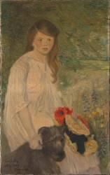 Colette sur fond de jardin (1888-1969), fille de l'artiste (Steinlen Théophile Alexandre) - Muzeo.com