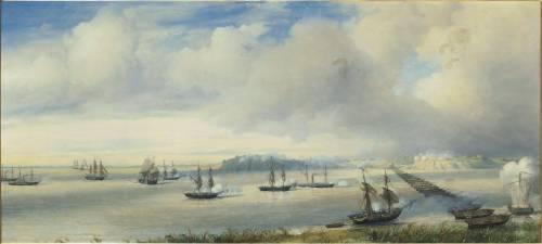 Combat naval devant Punto Obligado le 20 novembre 1845 (François Pierre Bernard Barry) - Muzeo.com
