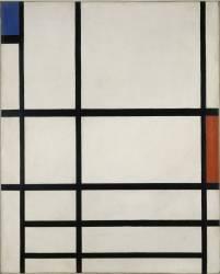 Composition en rouge, bleu et blanc II (Mondrian Piet) - Muzeo.com