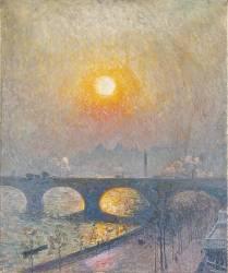 Coucher de soleil sur le Waterloo Bridge (Emile Claus) - Muzeo.com