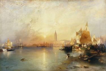 Coucher de soleil, Venise : Santa Maria et le Palais Ducal (Thomas Moran) - Muzeo.com