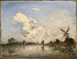 Cours d'eau en Hollande avec barque et moulin (Johan Barthold Jongkind) - Muzeo.com