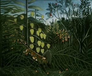 Dans la forêt tropicale - combat d'un tigre et d'un taureau (Henri Rousseau) - Muzeo.com
