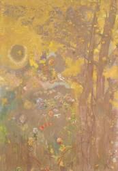 Décoration Domecy : arbres sur fond jaune (Odilon Redon) - Muzeo.com