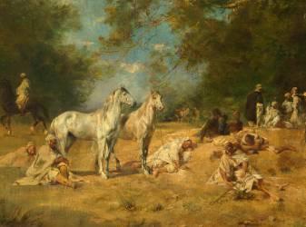 Détail de Halte de cavaliers arabes dans la forêt (Fromentin Eugène) - Muzeo.com
