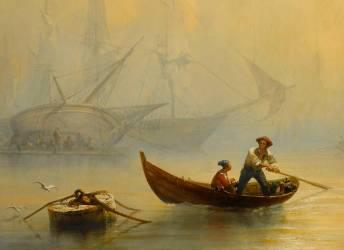 Détail de Marine, effet de brouillard (François Pierre Bernard Barry) - Muzeo.com