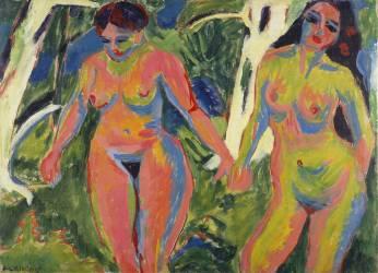 Deux femmes nues dans un bois (Kirchner Ernst Ludwig) - Muzeo.com