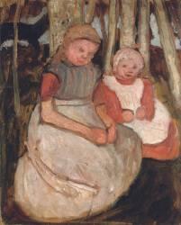 Deux Petites Filles assises devant les Troncs de Bouleaux (Paula Modersohn-Becker) - Muzeo.com