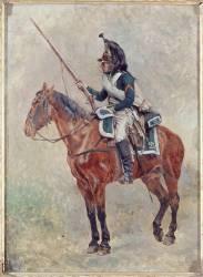 Dragon à cheval portant le manteau en bandoulière (Meissonier Jean-Louis-Ernest) - Muzeo.com