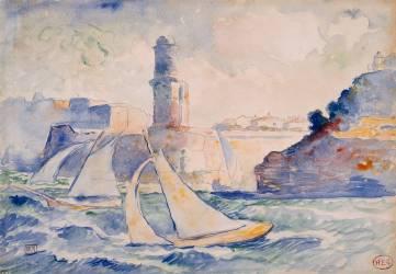 Entrée d'un port (Antibes) avec au premier plan deux voiliers et à l'arrière plan un phare (Cross Henri-Edmond) - Muzeo.com
