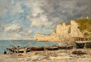 Etretat, la falaise Amont (Eugène Boudin) - Muzeo.com