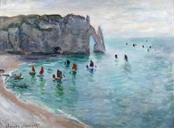 Etretat, la porte d'Aval : bateau de pêche sortant du port (Monet Claude) - Muzeo.com