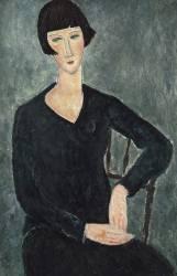 Femme assise avec veste bleue. (Modigliani Amedeo) - Muzeo.com