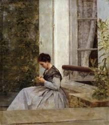 Femme crochetant (Giuseppe de Nittis) - Muzeo.com