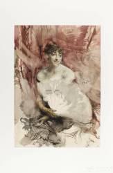 Femme à l'éventail, assise dans une loge : la comtesse de Rasti (?) (Boldini Giovanni) - Muzeo.com