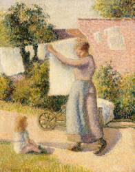 Femme étendant du linge (Camille Pissarro) - Muzeo.com