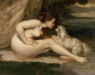 Femme nue au chien (Gustave Courbet) - Muzeo.com