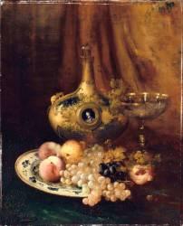 Fruits et objets d'art sur une table avec l'aiguière de François Ier (Antoine Vollon) - Muzeo.com