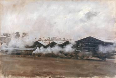 Hangars dans une Station Ferroviaire (Giuseppe de Nittis) - Muzeo.com