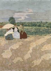 Jardins publics : les nourrices, la conversation ; l 'ombrelle rouge (Vuillard Edouard) - Muzeo.com
