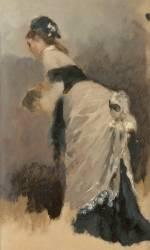 Jeune femme debout, de profil à l'écharpe et au manchon (Jean Béraud) - Muzeo.com