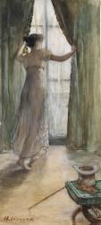 Jeune femme debout, vue de dos, devant une fenêtre (Gervex Henri) - Muzeo.com