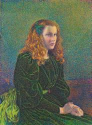 Jeune Femme en Robe Verte (Theo van Rysselberghe) - Muzeo.com