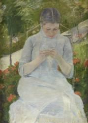 Jeune fille au jardin, dit aussi Femme cousant dans un jardin (Mary Cassatt) - Muzeo.com