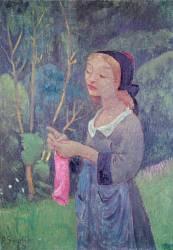 Jeune Fille avec un Bas Rose, ou Jeune Bretonne tricotant (Paul Sérusier) - Muzeo.com