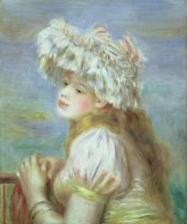 Jeune fille à la coiffe de dentelle (Pierre Auguste Renoir) - Muzeo.com