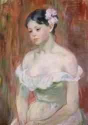 Jeune fille en décolleté - la fleur aux cheveux (Berthe Morisot) - Muzeo.com