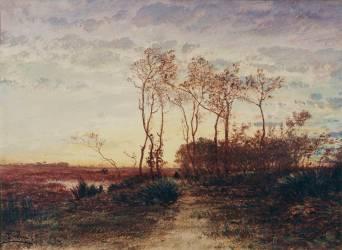 La Camargue, coucher de soleil (Félix Ziem) - Muzeo.com
