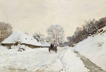 La Charrette. Route sous la neige à Honfleur, avec la ferme Saint Siméon (Claude Monet) - Muzeo.com
