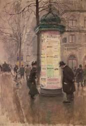 La colonne Morris (angle de la rue Lafitte et du boulevard des Italiens) (Jean Béraud) - Muzeo.com