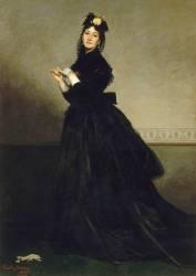 La Dame au gant. Mme Carolus-Duran, née Pauline Croizette (1839-1912), peintre (Durand Charles Auguste Emile) - Muzeo.com